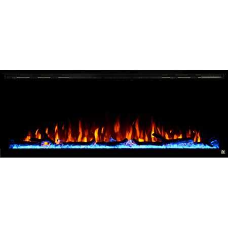 """Touchstone Sideline Elite Smart 50"""" WiFi-Enabled Electric Fireplace - 80036 - in-Wall Recessed - 60 Color Combinations - 1500/750 Watt Heater (68-88°F Thermostat) - Black - Log, Crystals & Driftwood"""