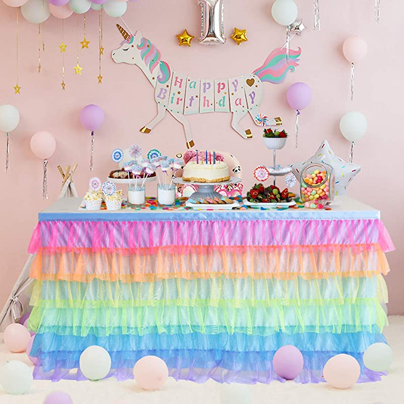 Rainbow Tulle Table Skirt 6ft Tutu Unicorn Table Cloth For Kids Party Baby Shower Girl Birthday Unicorn Room Decorations