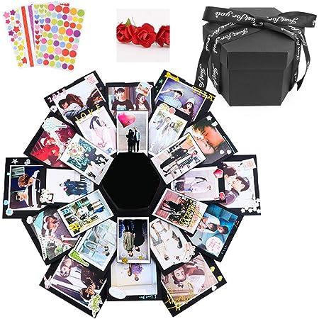 Dawa Boîte d'explosion noire créative faite à la main Album photo Scrapbooking Boîte cadeau pour Noël, anniversaire, Saint-Valentin, mariage, fête des mères