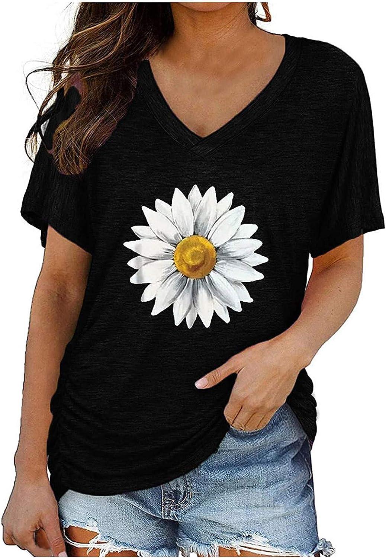 TARIENDY V Neck Tops for Women Short Sleeve Tees Sunflower Tie Dye Tshirt Summer Casual Blouse
