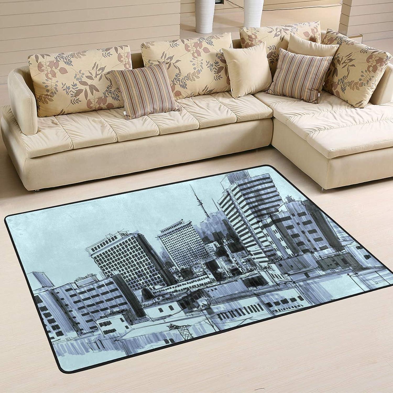 MALPLENA Peculiar City Painting Rugs for Living Room Doormat Carpet Floor Mats shoes Scraper for Living Room Dining Room Bedroom Kitchen Non Slip