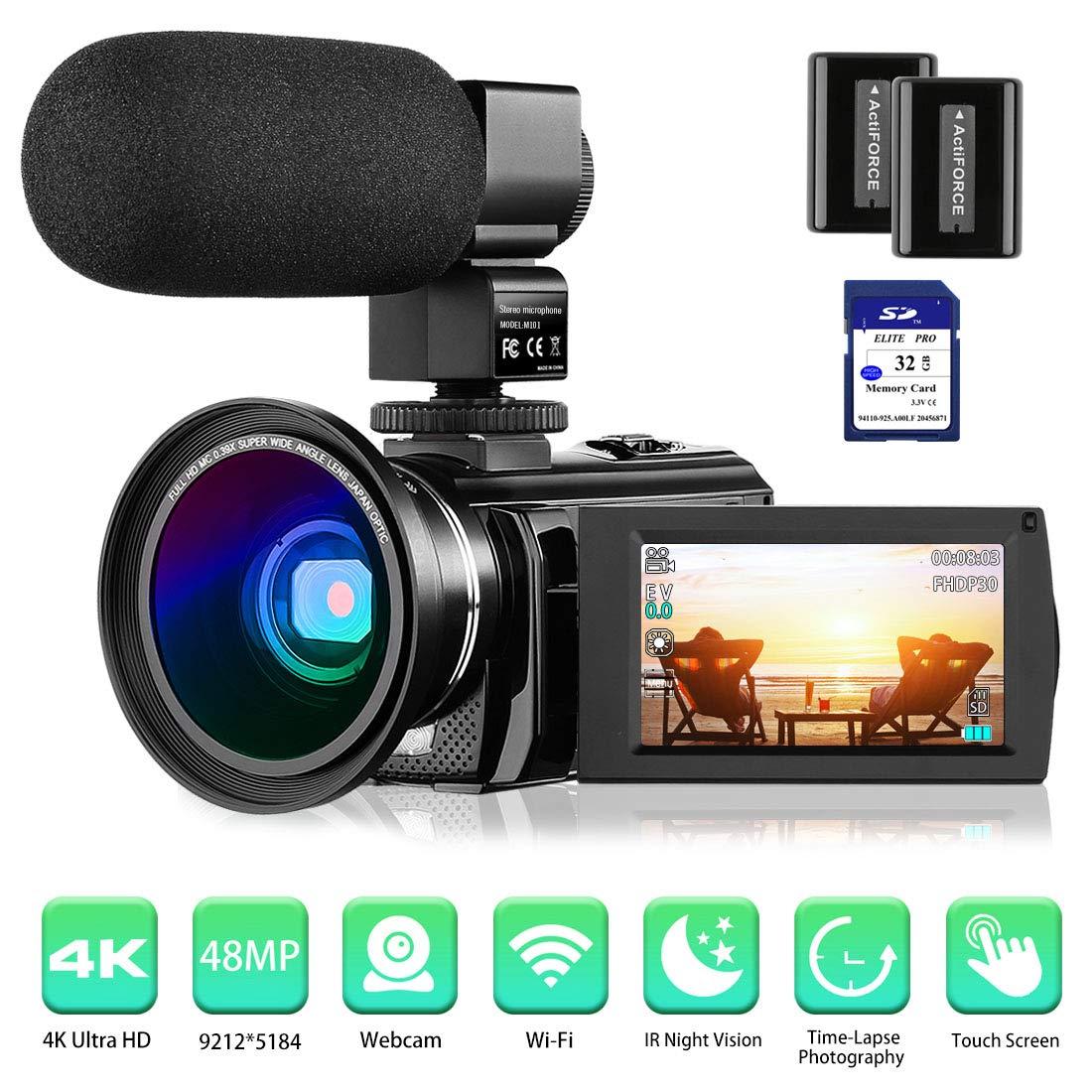 Camcorder Rosdeca External Microphone Batteries
