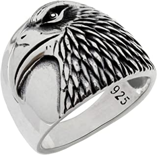Solid 925 Sterling Silver Eagle Head Patriotic USA Bird American Symbol Novelty Band Ring for Men
