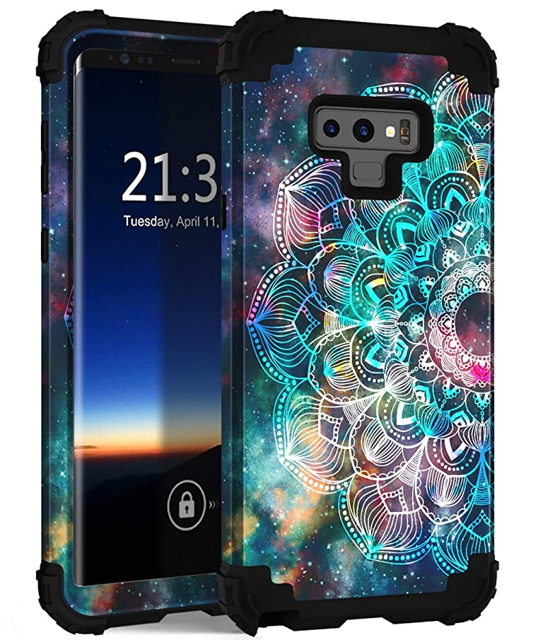 Galaxy Note 9 Case, Hocase Shockproof Heavy Duty Protection Hard Plastic Cover+Silicone Rubber Dual Layer Protective Phone Case for Samsung Galaxy Note 9 (2018) SM-N960 - Mandala in Galaxy