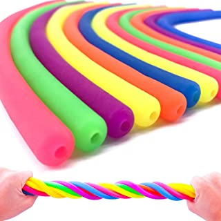 12 Pcs Silly Stretchy String Fidget Sensory Toys Build Resistance Squeeze Strengthen Arms Pull, Monkey Noodle Stress Relie...