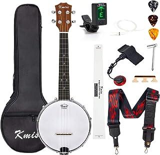 Kmise Banjolele Concierto Banjo Ukelele 4 cuerdas de 23 pulgadas Banjos con bolsa afinadora Pickup Multifuncional Correa Strings Picks Puente Regla Llave, MI2703