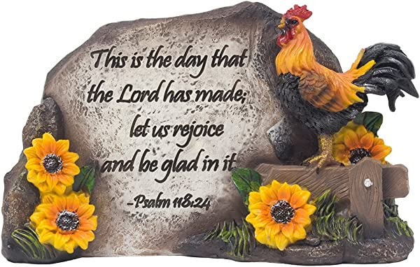 Decorative Rooster On Fence Desktop Plaque Figurine For Religious And Spiritual Rustic Country Decor As Christian Decorations With Bible Verse As Inspirational Mother S Day Gifts For Mom