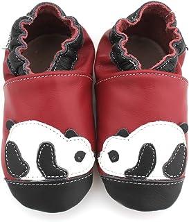 8fdbdddcca304 Meli Melo bio - Chaussons Cuir Souple Panda Bordeau Noir