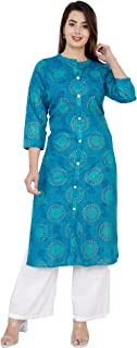 Antarmana Fashions Blue Gold Print Cotton Kurti Palazzo Set for Women. PCS-38