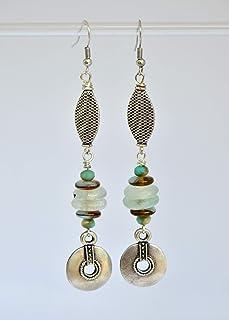 Pendientes largos con colgantes étnicos plateados y cuentas de cristal africano, joyas hechas a mano para mujer