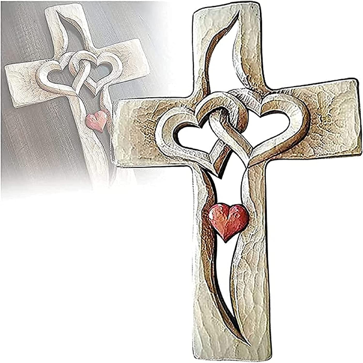 Carved Wooden Cross - Intertwined Hand Carve Wall Mail order cheap Hanging Hearts Ranking TOP7