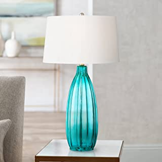 Stella Modern Table Lamp Clear Blue Fluted Glass White Drum Shade for Living Room Family Bedroom Bedside Nightstand - 360 Lighting