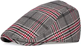 RICHTOER Mens Women Ivy Gatsby Newsboy Driving Cap Golf Scally Hunting Plaid Irish Hat