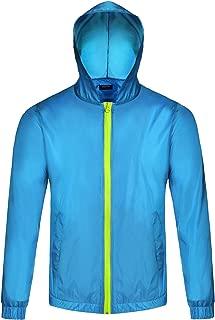 Men's Waterproof Rain Jacket Lightweight Hooded Outdoor Running Cycling Packable Raincoat