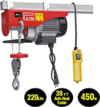 EVERDRAGON 440 LBS Power Lift Electric Hoist, Overhead Crane Commercial Industrial Chain Remote Control Power System, Winch Wire Cable Hoist Garage Auto Shop W/Remote Control (120V/460W/3.9A/60Hz)