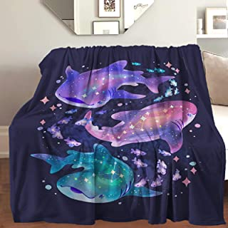 "AIBILEEN Cosmic Whale Shark Graphic Throw Blanket Cozy Warm,Thick Velvet Blanket for Couch Bed Living Room M 60""X50"""