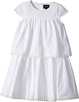 Oscar de la Renta Childrenswear - Cotton Flower Eyelet Tiered Dress (Toddler/Little Kids/Big Kids)