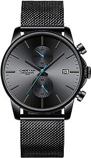 Orologi da uomo moda sport al quarzo analogico nero maglia acciaio inossidabile impermeabile cronografo orologio da polso ...