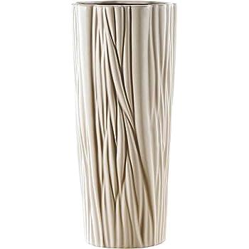 /43,8/cm ondulato vaso alto collo sottile/ Puro.Lifestyle/ /Decorazione in ceramica beige con motivo vaso in porcellana artigianato regali di nozze Welcome Home Warming regalo di compleanno presenta