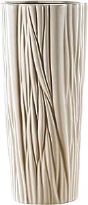 Vase Ronde Hauteur 33.5cm Soliflore en Céramique Porcelaine Blanc Ivoire Décoration Entrée Table Maison Vase à Fleur Cadeau Fête Anniversaire
