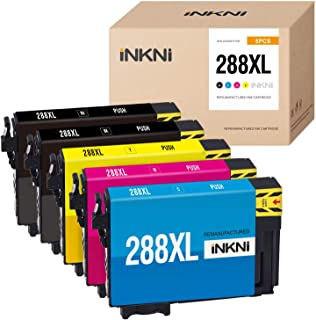 INKNI Remanufactured Ink Cartridge Replacement for Epson 288XL 288 XL T288XL High Capacity Ink for Expression Home XP-440 XP-340 XP-330 XP-430 XP-446 XP-434(2 Black, 1 Cyan Magenta Yellow, 5-Pack)