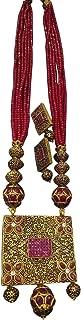 Antique Pendant Ruby Red Jadau Beads Traditional Indian Ethnic Jaipuri Polki Necklace Set