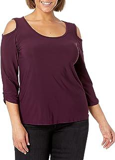 Star Vixen womens Plus-Size 3/4 Sleeve Cutout Cold Shoulder Top Blouse