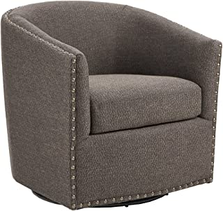 Madison Park Tyler Swivel Chair - Solid Wood, Plywood, Metal Base Accent Armchair Modern Classic Style Family Room Sofa Furniture, Chocolate