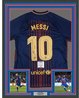 771c8102a Framed Autographed Signed Lionel Leo Messi 33x42 FC Barcelona Blue Soccer  Jersey Beckett BAS COA