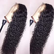 BEEOS 13x4 Curly Lace Front Human Hair Wigs for Black Women Pre Plucked Natural Black Hairline Brazilian Curly Human Hair Wigs 130% Density with Baby hair 24 Inch