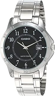 Casio Men's Black Dial Stainless Steel Band Watch - MTP-V004D-1, Analog, Quartz