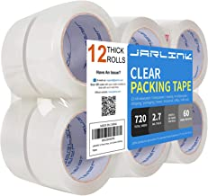 JARLINK Clear Packing Tape (12 Rolls), Heavy Duty Packaging Tape for Shipping Packaging Moving Sealing, 2.7mil Thick, 1.88...