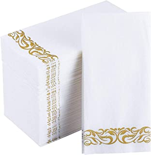 JOLLY CHEF 100 Disposable Hand Towels , Soft and Absorbent Line-Feel Dinner Napkin, Elegant Decorative Paper Guest Towels ...
