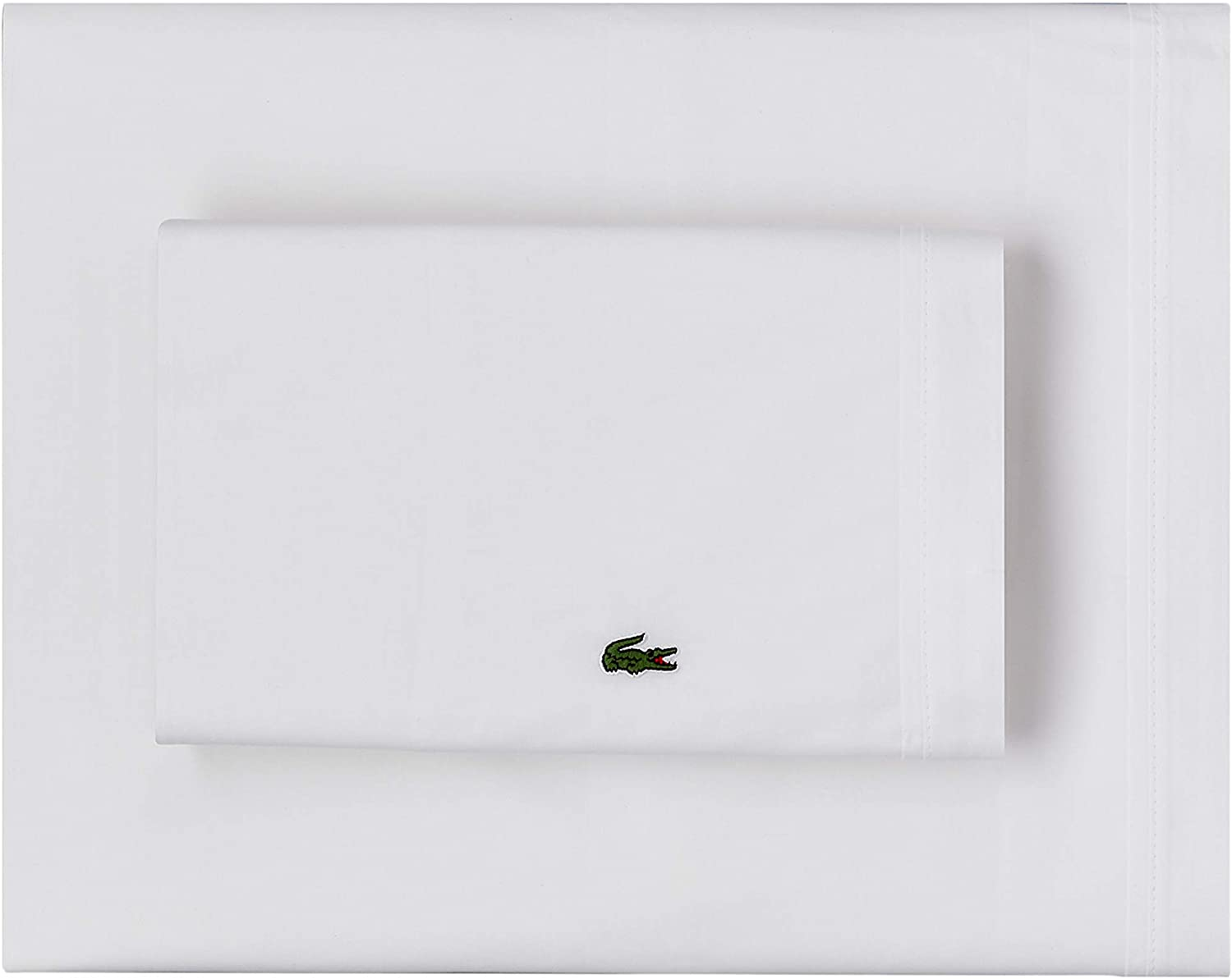 Lacoste 100% Cotton Percale Sheet Lowest price challenge specialty shop Set Twin Solid White Extra