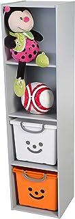 Meuble de rangement modulaire/Étagère pour jouets, 4 compartiments - KCX-4 - Bois, Gris, L35.4 x P35.1 x H138.6 cm