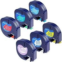 6-Pack Compatible DYMO LetraTag Plastic Label Tape Refills 16952 91331 91332 91333 91334 91335 Multi-Color Combo Set, 1/2 Inch x 13 Feet for Dymo LetraTag LT100H Plus LT100T QX50 Label Maker