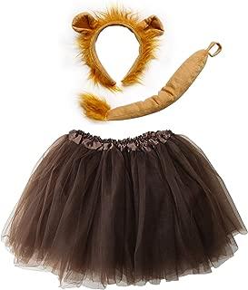 Kids Teen Adult Plus Tutu Skirt, Ears, Tail Headband Costume Halloween Outfit (XL (Plus Size), Lion Brown)