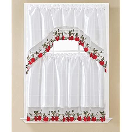 Amazon Com Beatrice Home 3pc Kitchen Curtain And Valance Set 1 Swag Valance And 2 Tiers 2 Tiers Width 30 X 36 Each And The Valance Length 60 X36 White Apple Kitchen Dining