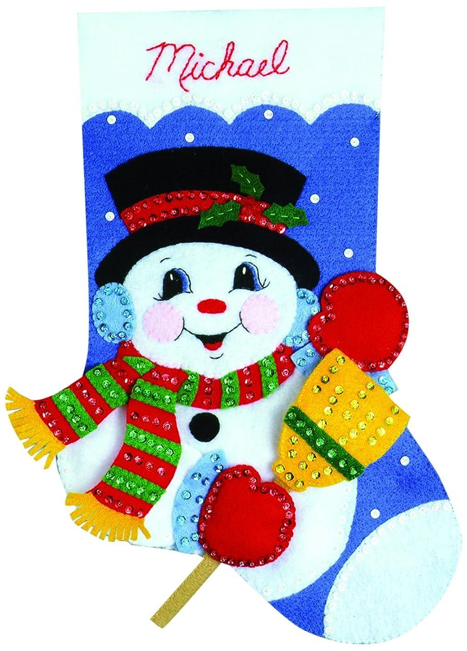 Tobin Snowman with Broom Stocking Felt Applique Kit, 16-Inch