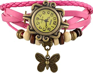 Virom Vintage Retro Analogue Butterfly Pink Color Watch for Women & Girls