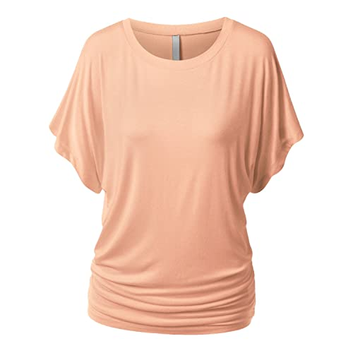 c072d068696 URBANCLEO Womens Short Sleeve Dolman Drape Top Shirts (Plus