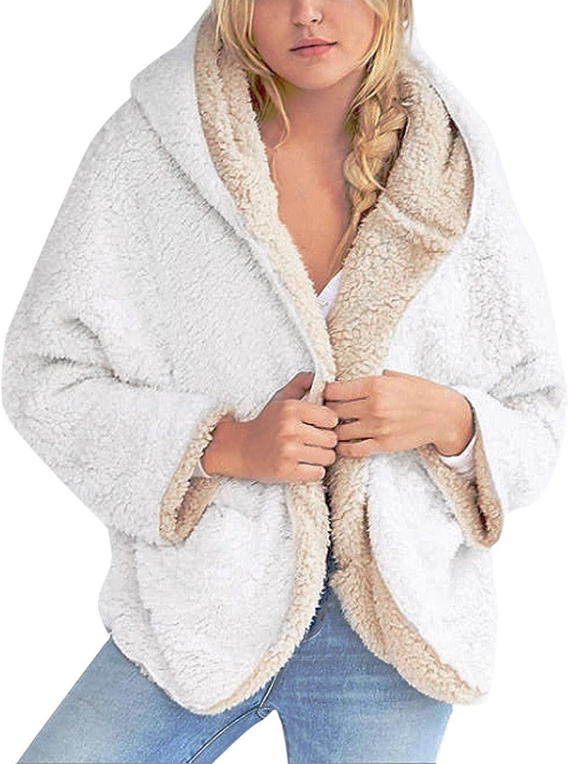 Fhwiwoehgwohg Women Warm Jacket Casual Fleece Fuzzy Faux Shearling Oversize Winter Jacket Coat