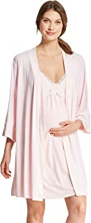Womens Maternity 2 Piece Nursing Nightgown and Robe Pajama Lounge Set