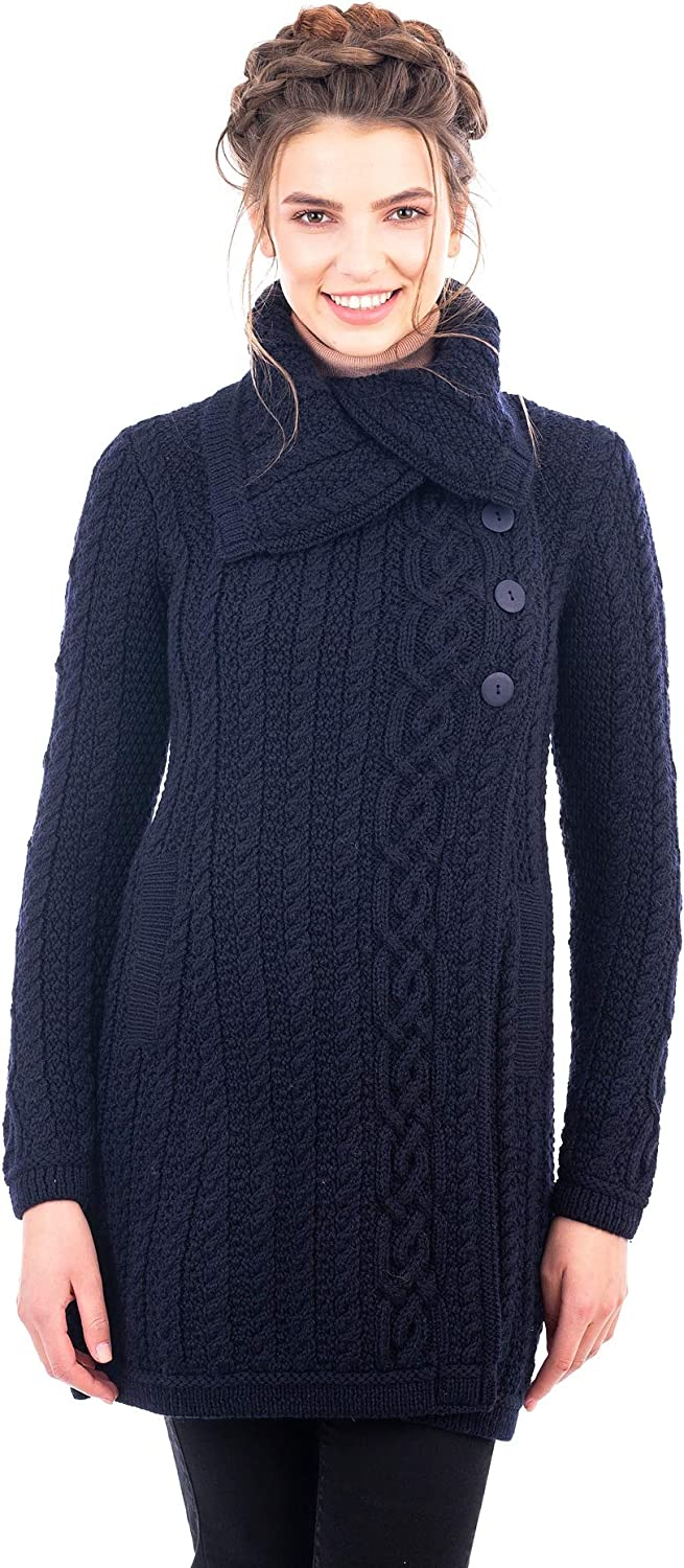 SAOL Traditional Irish Merino Acrylic Wool Ladies 3 Buttons Collar Cardigan Coat with Pockets