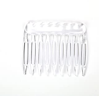 Pomeat Pack of 30 Clear Plain Plastic Smooth Hair Clips Combs Wire Twist Bridal Wedding Veil Combs,9 Teeth Designed