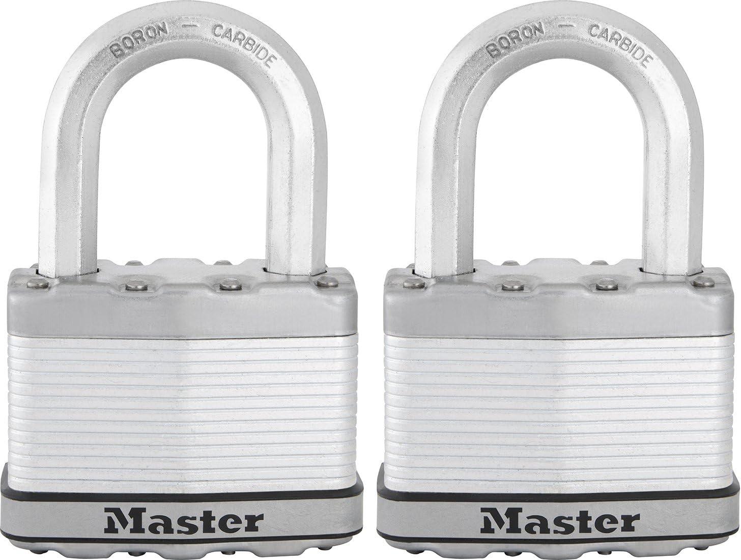 Lock Set By Master M1KALJ Lot of 10 KEYED ALIKE Long Carbide Shackle Magnum