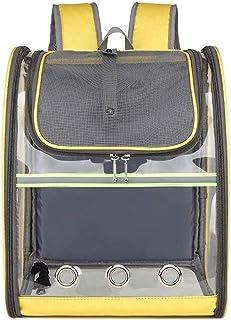 Cat Dog Carrier Backpack Cat Bag Full Transparent Pet Bag Folding Pet Backpack Cat Backpack PVC Pet Travel Bag (Color : Ye...