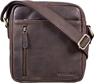 """STILORD Benno"""" Leder Umhängetasche Herren klein für iPad 9,7"""" braun Vintage Herrentasche Messenger Bag Schultertasche Männer Echtleder, Farbe:matt - Dunkelbraun"""