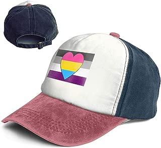 Asexual Ace Panromantic Pan Heart Pride Flag Women Girls Adult Dad Trucker Distressed Denim Hat Cap