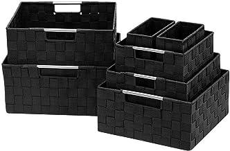 Sorbus Storage Box Woven Basket Bin Container Tote Cube Organizer Set Stackable Storage Basket Woven Strap Shelf Organizer...